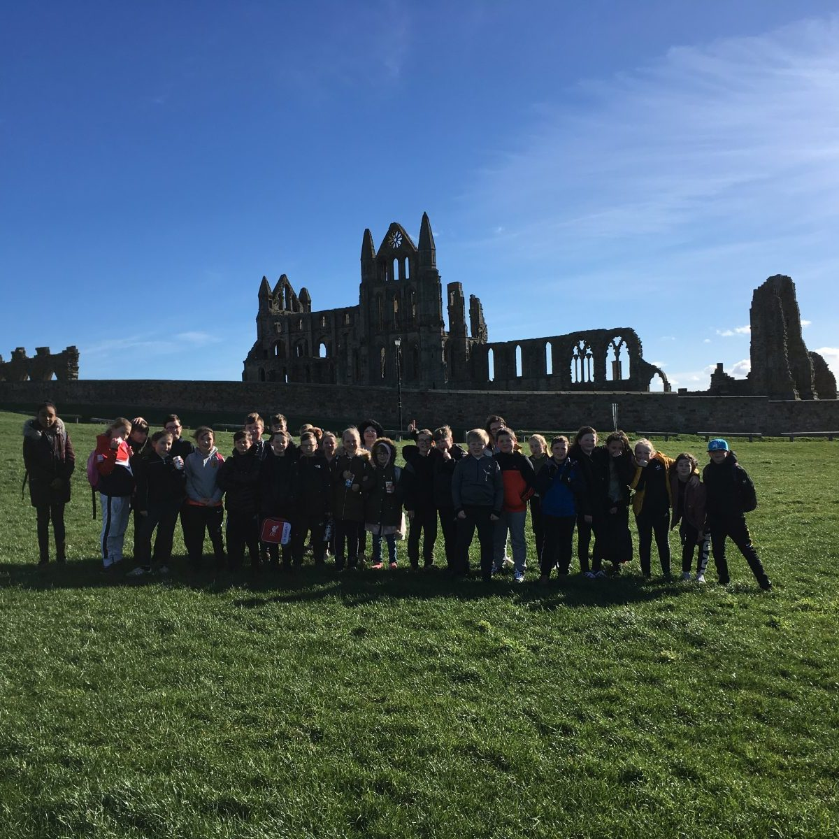 Pupils at Whitby Abbey, Yorkshire